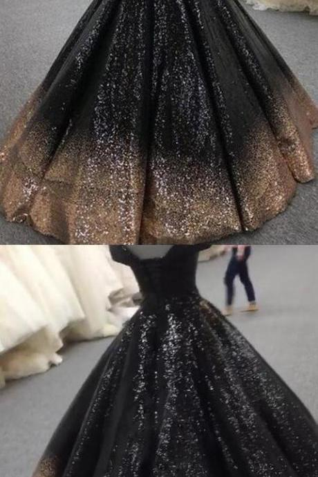 Bling Bling Sequins Gold/Black Ball Gown Prom Dresses Off Shoulder Formal M8369