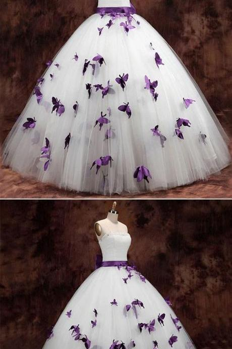Strapless Butterfly Ball Gown Wedding Dress M8373