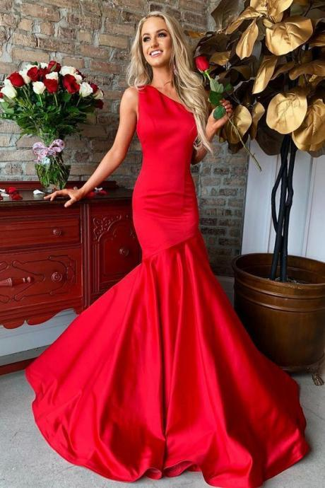 Mermaid Oblique Collar Long Red Prom Dress M8412