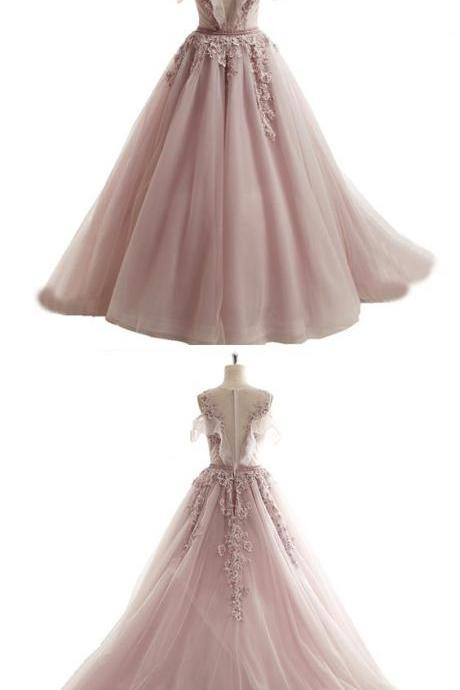 spring pink tulle long off shoulder A-line senior beaded prom dress with lace appliques M8425