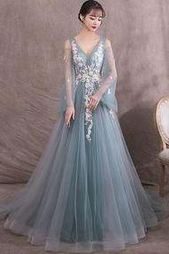 Green v neck tulle lace long prom dress, green evening dress M8460