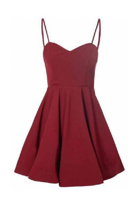 Party Dresses Short Burgundy Spaghetti Straps Short Prom Dress Simple Cheap Homecoming Dresses M8517