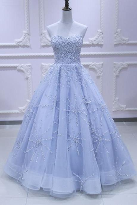 Sweetheart neck light blue tulle sequins long evening dress, long prom dress M8535