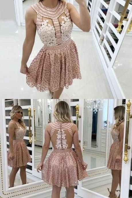 A-Line Round Neck Pink Homecoming Prom Dress with Beading Lace M8609
