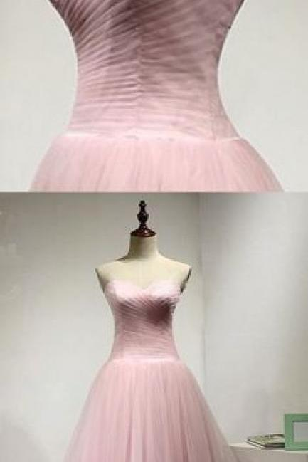 weetheart pink tulle long A-line prom dress, pink long simple evening dress M8644