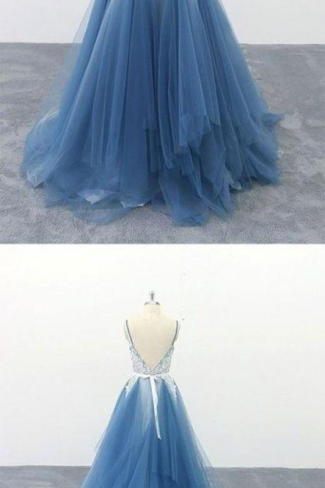 Blue v neck tulle lace long prom dress, blue lace evening dress M8647