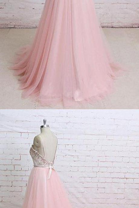 Pink Floral Lace Spaghetti Straps A Line Tulle Evening Dress Open Back Prom Dress M8650