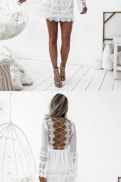 long sleeve white homecoming dress,simple lace short prom dresses,sexy criss cross back party dress,summer outfits M8689
