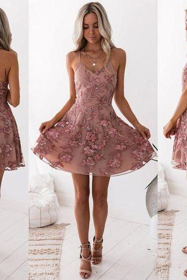 Cheap Fetching Blush Party Dresses, A-Line Homecoming Dress, Appliques Party Dresses M8701