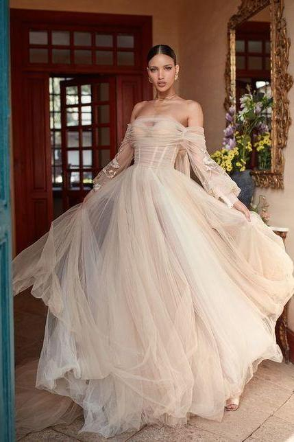 silk tulle wedding dress, draped corset evening gown,sheer voluminous skirt with sleeves M8754