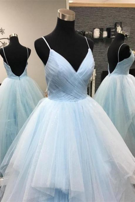 Ruffled Light Sky Blue Ball Gown M8757