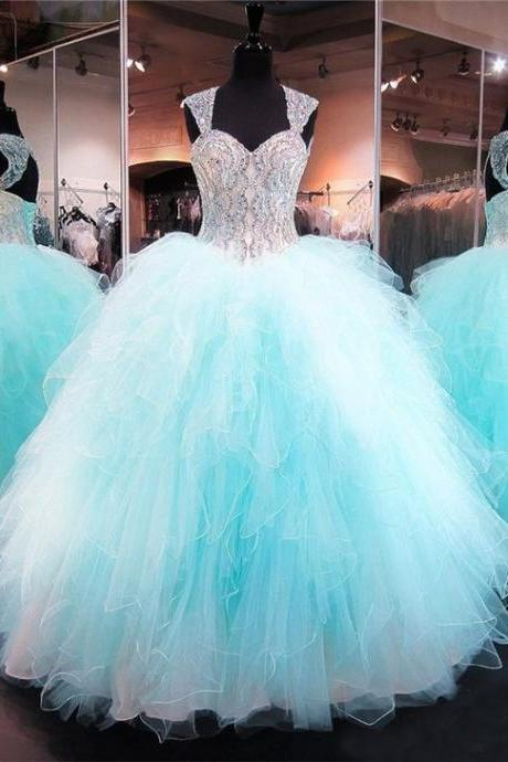 Ball Gown Sweetheart Corset Aqua Tulle Ruffle Puffy Quinceanera Prom Dress M8764