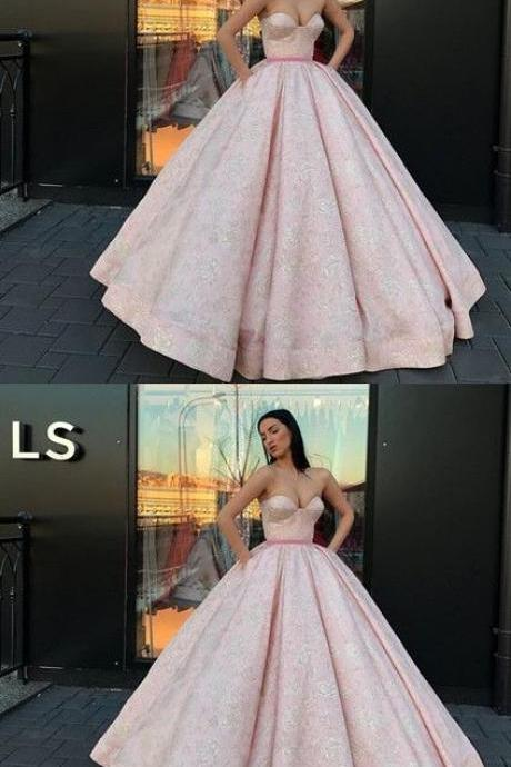 Ball Gown Pink Lace Satin Floor-Length Quinceanera Dress Sweet 16 Dresses for Girls M8766