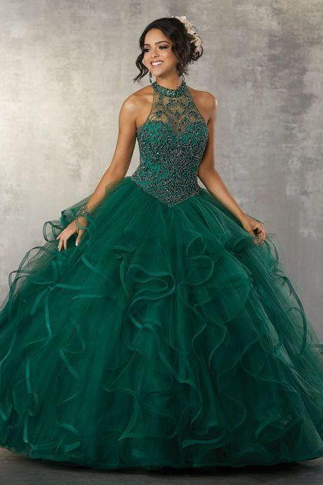 Green Ruffles Puffy Ball Gown Quinceanera Dresses 2019 Crystal Beaded Pearls High neck Sweet 16 Dress Sheer Neck Princess Prom Dresses Party Gowns M8767