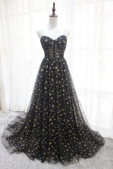 Sweetheart neck black star tulle long a line evening dress, long prom dress M8882