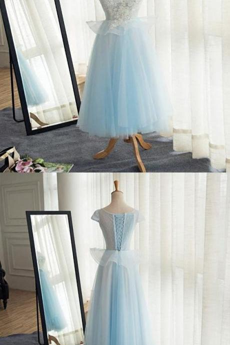 A-Line Scoop Neckline Cap Sleeves Tulle Tea Length Prom Dresses M8942