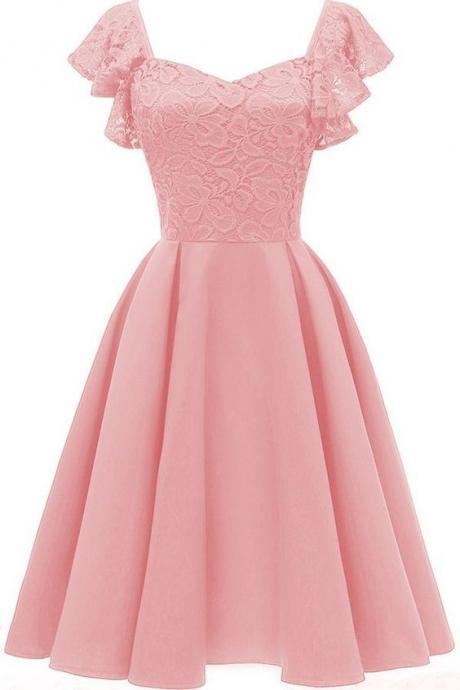 Pink V Neck Lace Sleeveless Retro A Line Dress M8967