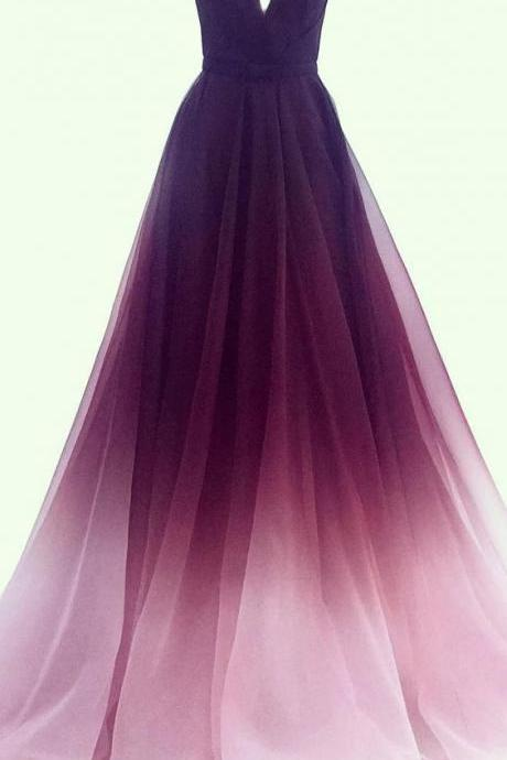 A-line V-neck Chiffon Ombre Long Prom Dresses Simple Formal Gown M9016