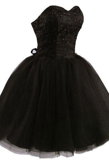 Sweetheart A-line black tulle prom dress,evening dress,bridesmaid dress M9022