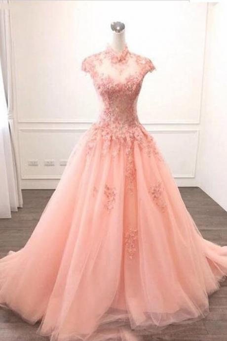 Pink Tulle O Neck Long Cap Sleeve Evening Dress, Prom Dress With Appliques M9024