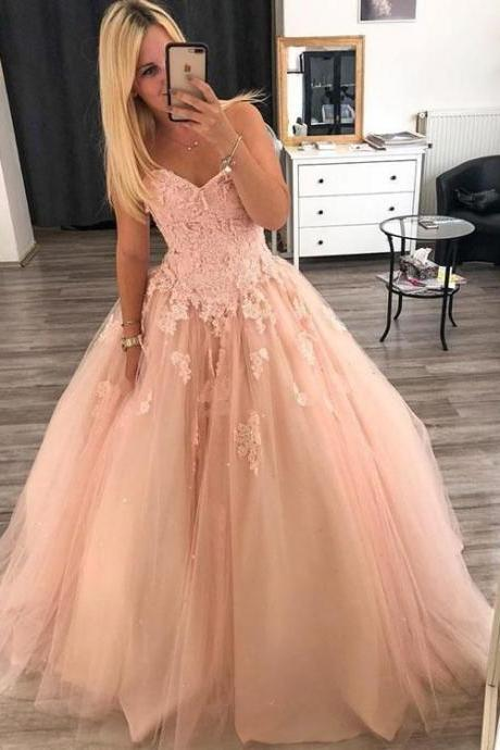 Pink Sweetheart Neck Lace long Prom dress Pink Evening Dress Tulle Formal Gowns M9027