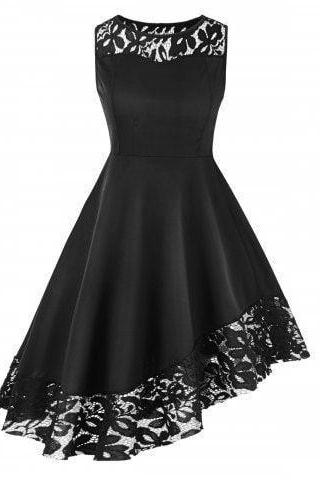 Lace Hem Round Neck Black A Line Dress M9191
