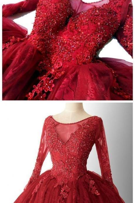 2020 CHIC A-LINE RED HOMECOMING DRESSES LACE SHORT PROM DRESS LONG SLEEVE HOMECOMING DRESS M9371