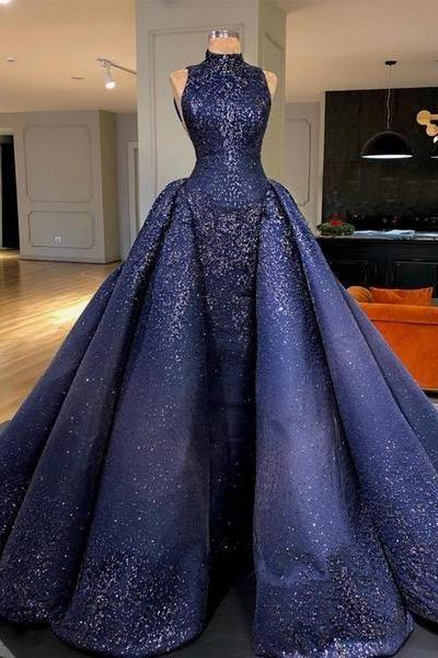 Royal Blue Sparkly Bead Ball Gown Gorgeous Prom Dresses M9444