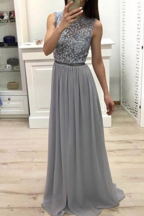 High Neck Chiffon Long Prom Dress Lace Top Grey Bridesmaid Dress M9452