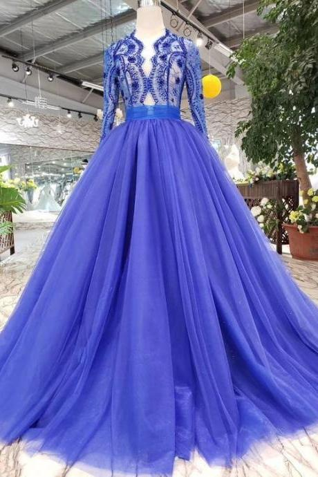 Long Sleeves V Neck Prom Dresses Tulle With Applique A Line Beads M9456