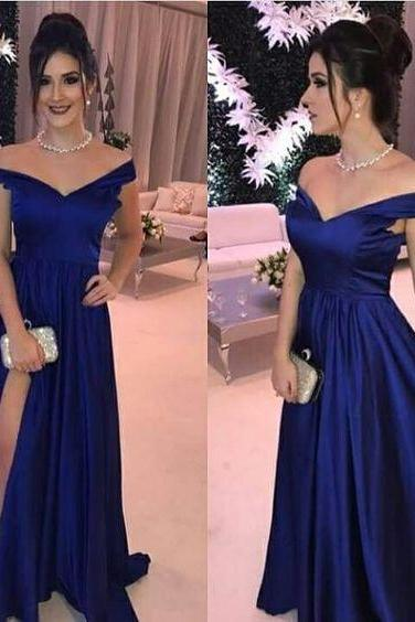 Navy blue long prom dress M9475