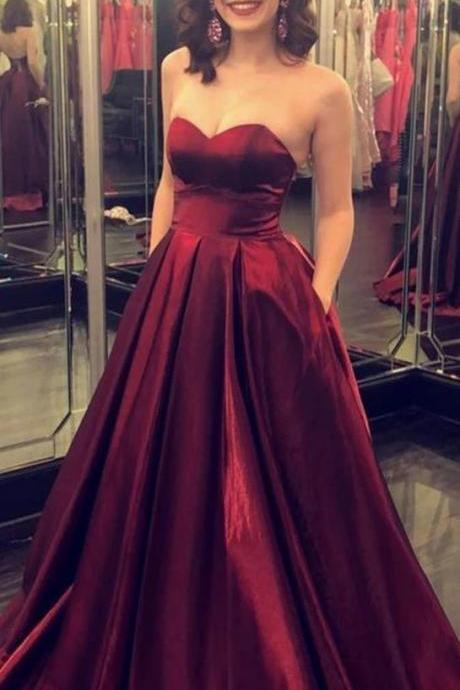 Sweetheart Burgundy Prom Dresses A-line M9476