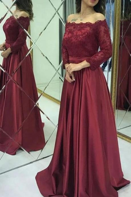 Modest Lace Long Sleeves Satin Burgundy Prom Evening Dresses M9477