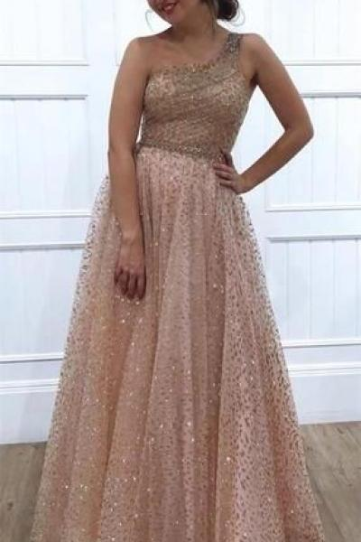 Sparkly A-line Floor-length One-shoulder Long Beading Prom Dresses M9481