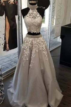 Gray Two Pieces Vintage Prom Dresses with Appliques Beading M9482