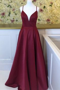 Simple Burgundy Long Prom Dress with Straps M9484