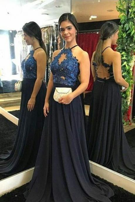 Halter Neck Long Chiffon prom Dress lace Appliques Women Evening Dress M9485
