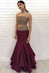 Two Piece Long Prom Dress , Charming Prom Dress M9486