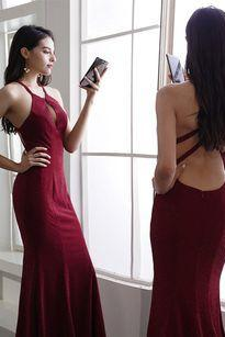 Cheap Burgundy Prom Dresses Halter Backless Evening Dresses M9489