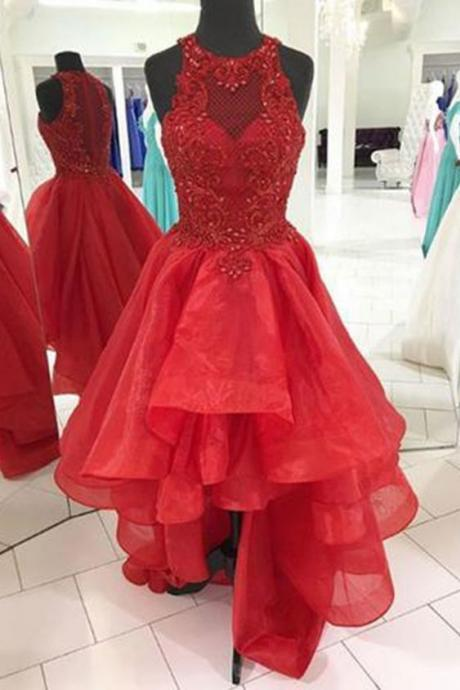 Red organza scoop neck high low strapless homecoming dress with beading M9499