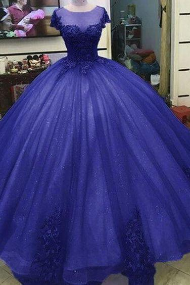 Ball Gown Princess Prom Dresses Lace Appliqued Victorian Formal gowns m366