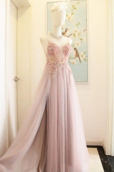 Tulle Pink Prom Dress With Slit Tulle Spaghetti Strap Jewelry Tulle Prom/Evening Dress Christmas Dress m512