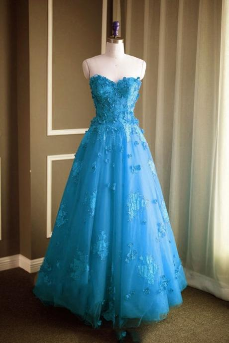 Ice Blue Strapless Sweetheart Floral Appliqués A-line Long Prom Dress, Evening Dress Featuring Lace-Up Back m519