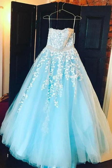 Light Blue Appliques Prom Dress, Elegant Spaghetti Straps Tulle Evening Dress, Long Prom Dresses m520