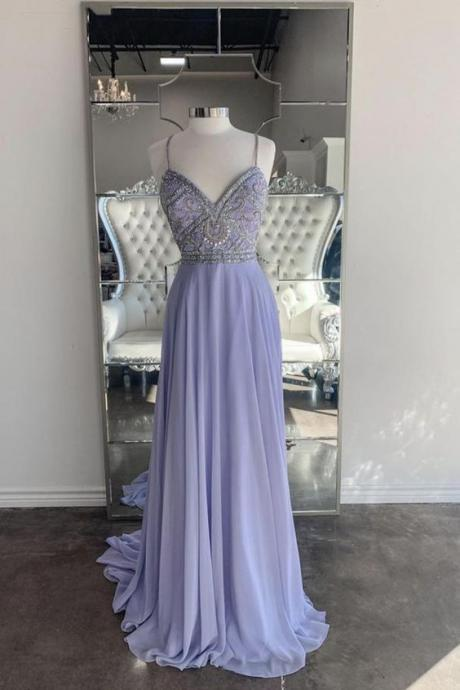 Purple chiffon beads long prom dress evening dress m521