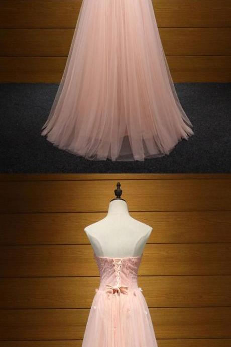 Fitted Peach Pink Long Formal Dress Tulle Beaded With Florals For Women m523
