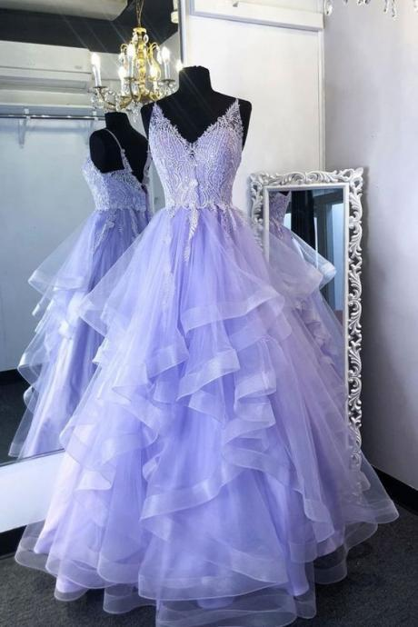 Purpler v neck tulle lace beads long prom dress tulle formal dress m524