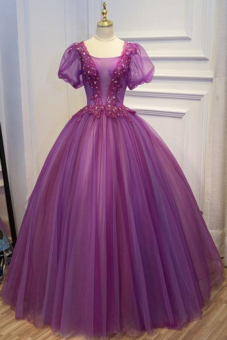 purple beading embroidery lace bubble sleeve ball gown medieval dress m527