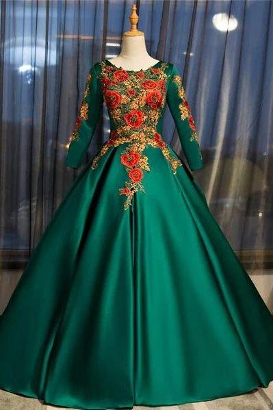 Dark Green Satin Long Ball Gown Sweet 16 Dress, Green Prom Dress m528