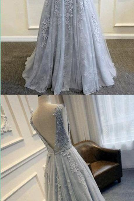 Lace Prom Dress,Grey Prom Dress,Long Prom Dress,Robe De Bal,Formal Dresses m529